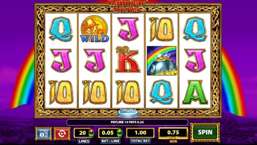 What are the three bonus features in Rainbow Riches?